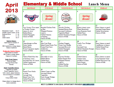 April Lunch Menu: